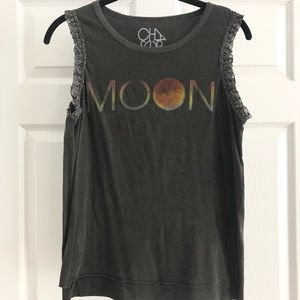 Chaser moon gray top with lace size XS